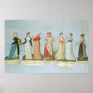 Vestidos y trajes en voga póster