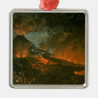 Vesuvio que entra en erupción adorno navideño cuadrado de metal