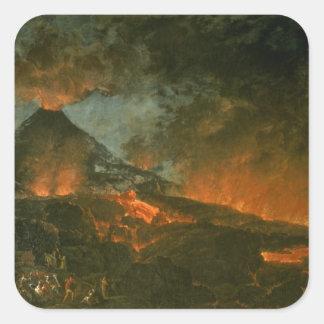 Vesuvio que entra en erupción pegatina cuadrada