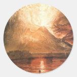 Vesuvio que entra en erupción pegatina redonda