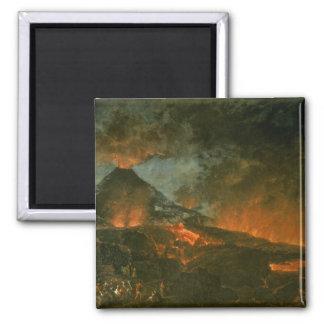 Vesuvius Erupting 2 Inch Square Magnet