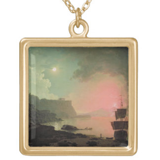 Vesuvius from Posillipo, c.1788 (oil on panel) Gold Plated Necklace