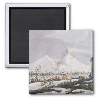 Vesuvius in Snow, plate V from 'Campi Phlegraei: O 2 Inch Square Magnet