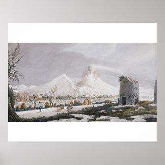 Vesuvius in Snow plate V from Campi Phlegraei O Poster