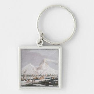 Vesuvius in Snow, plate V from 'Campi Phlegraei: O Silver-Colored Square Keychain