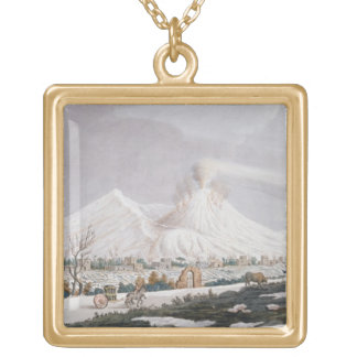 Vesuvius in Snow, plate V from 'Campi Phlegraei: O Square Pendant Necklace