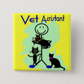 Vet Assistant Stick Person With Black Cats Button