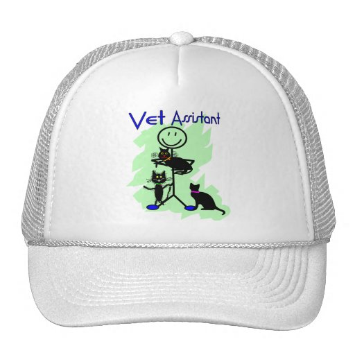 Vet Assistant Stick Person With Black Cats Trucker Hat