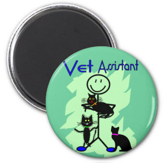 Vet Assistant Stick Person With Black Cats Magnet