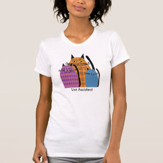Vet Assistant T-Shirt Folk Art Cats Design