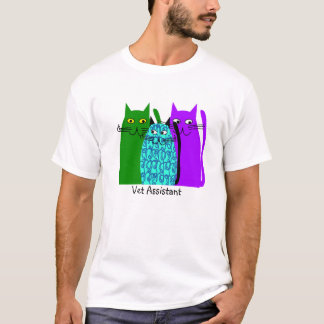 Vet Assistant T-Shirt Whimsical Cats