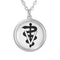 vet med caduceus custom necklace