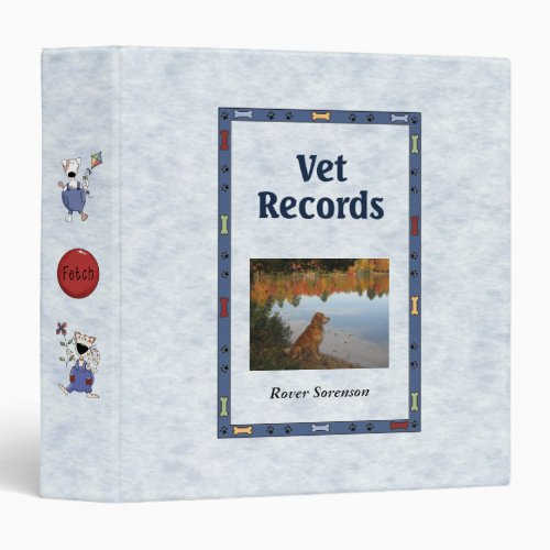 Vet Records Personalized Pet Information 3 Ring Binder