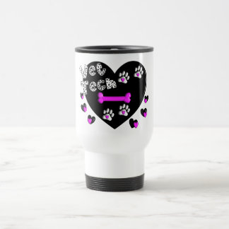 Vet Tech BLACK AND WHITE HEARTS 15 Oz Stainless Steel Travel Mug