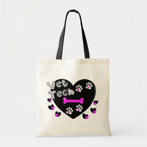 Vet Tech BLACK AND WHITE HEARTS Canvas Bags