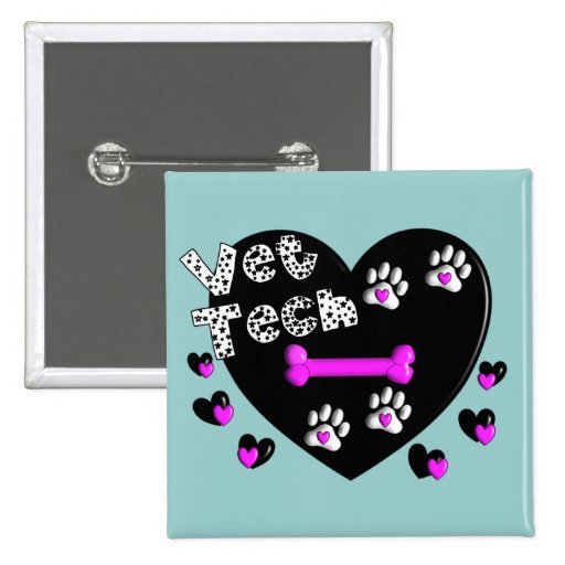Vet Tech BLACK AND WHITE HEARTS Pinback Button