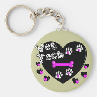 Vet Tech BLACK AND WHITE HEARTS Keychain