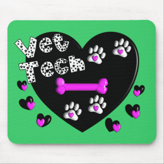 Vet Tech BLACK AND WHITE HEARTS Mouse Pad