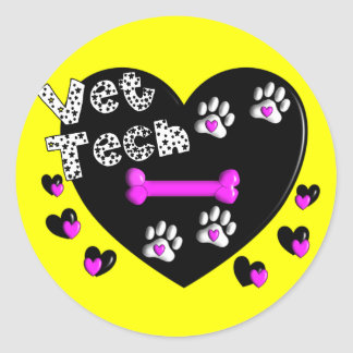 Vet Tech BLACK AND WHITE HEARTS Classic Round Sticker
