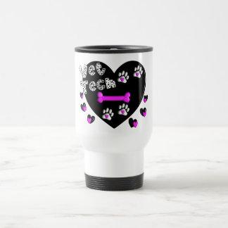 Vet Tech BLACK AND WHITE HEARTS Travel Mug