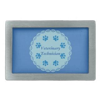 Vet Tech Blue Lace 8/Blue Paw Prints (Template) Belt Buckle