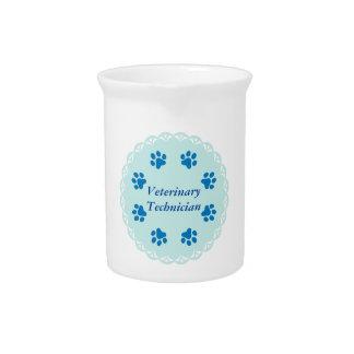 Vet Tech Blue Lace 8/Blue Paw Prints (Template) Beverage Pitcher