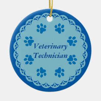 Vet Tech Blue Lace 8/Blue Paw Prints (Template) Ceramic Ornament
