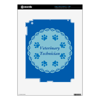 Vet Tech Blue Lace 8/Blue Paw Prints (Template) Decal For The iPad 2