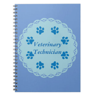 Vet Tech Blue Lace 8/Blue Paw Prints (Template) Notebook