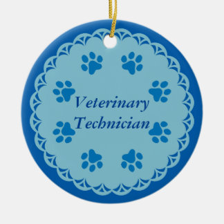 Vet Tech Blue Lace 8/Blue Paw Prints (Template) Double-Sided Ceramic Round Christmas Ornament