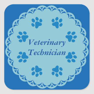 Vet Tech Blue Lace 8/Blue Paw Prints (Template) Square Sticker