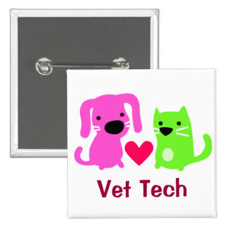 Vet Tech Dog & Cat with Heart 2 Inch Square Button
