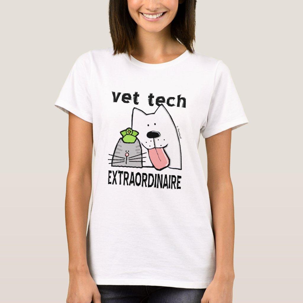 Cat Dog Vet Tech Extraordinaire T-shirts for Small Animal Veterinary Technicians