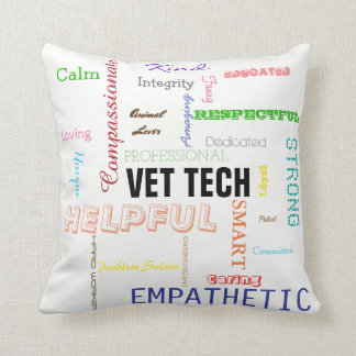 Vet Tech Gift Attributes Traits Bright Typography Throw Pillow