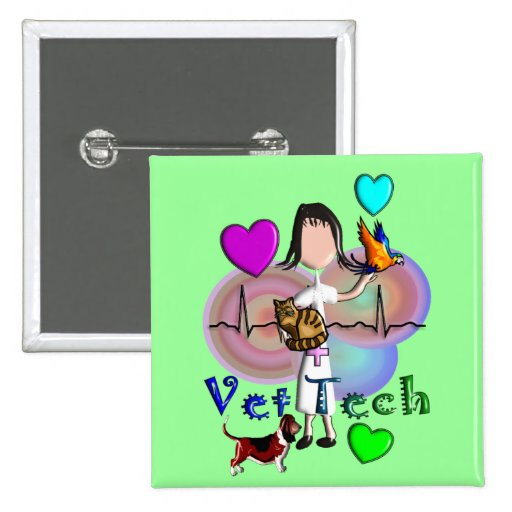 Vet Tech Gifts Unique Embossed Style Graphics Button