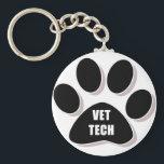 "vet tech keychain paw black<br><div class=""desc"">by vettechstuff.com</div>"