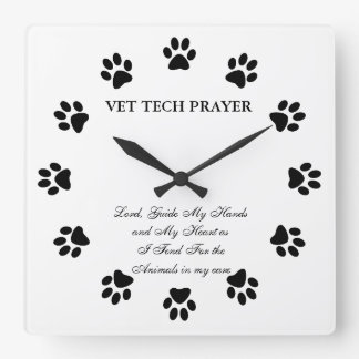 Vet Tech Prayer Wall Clock