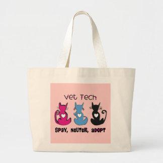 Vet Tech SPAY NEUTER ADOPT Black Cats Design Large Tote Bag