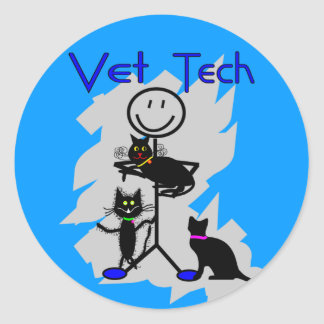 Vet Tech Stick Person With Black Cats Classic Round Sticker