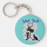 Vet Tech Stick Person With Black Cats Key Chains