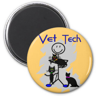Vet Tech Stick Person With Black Cats Magnet