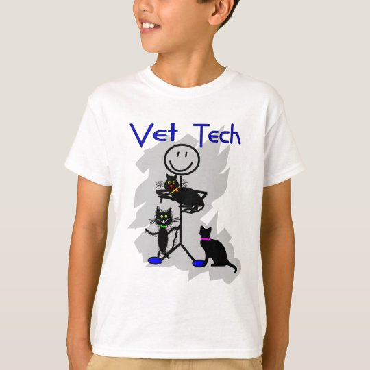 Vet Tech Stick Person With Black Cats T-Shirt