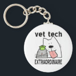 """vet tech vet tech gifts vet tech gear veterinary t keychain<br><div class=""""desc"""">This fun professional Veterinary Technician design features a happy cartoon dog, cat, and bird with text, Veterinarian Extraordinaire. You worked hard to become an animal care worker and you&#39;re good at it, so let the world know! Great gift idea for your pets&#39; favorite Vet Tech, too! Original copyrighted design by...</div>"""