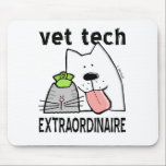 "vet tech vet tech gifts vet tech gear veterinary t mouse pad<br><div class=""desc"">This fun professional Veterinary Technician design features a happy cartoon dog, cat, and bird with text, Veterinarian Extraordinaire. You worked hard to become an animal care worker and you&#39;re good at it, so let the world know! Great gift idea for your pets&#39; favorite Vet Tech, too! Original copyrighted design by...</div>"