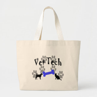 Vet TECH With Dog Bone Large Tote Bag