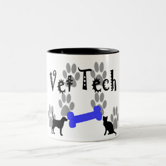 Vet TECH With Dog Bone Two-Tone Coffee Mug