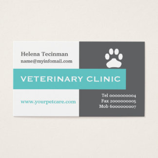 Vet/Veterinary Clinic, paw aqua eye-catching Business Card