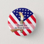 """Veteran and Active Duty Military Thank You Button<br><div class=""""desc"""">To honor those whose U.S. military service past and present has given the world a better future. They are our guardians of freedom.</div>"""