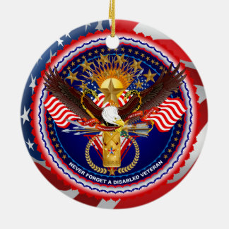 Veteran Customize Edit & Change background color Ceramic Ornament