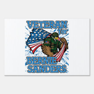 Veteran For Bernie Sanders Presidential Campaign Yard Sign